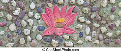 Lotus painting on stone wall decoration