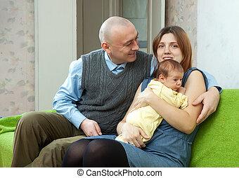 neonato, bambino, Tre, famiglia