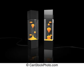 lava lamp on black background
