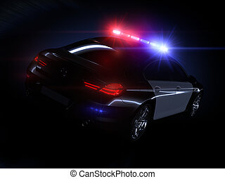 Police car, with full array of lights and tactical lights.