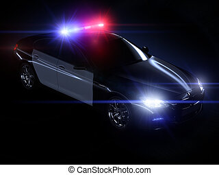 Police car, with full array of lights and tactical lights
