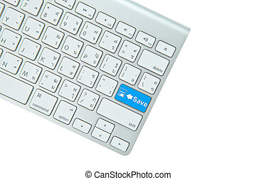 Blue Save button on computer keyboard isolated on white background