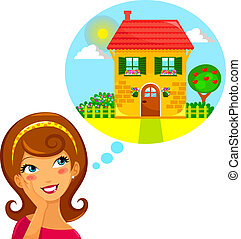 dream home - young woman dreaming of a beautiful house