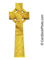 Celtic cross - Old celtic cross isolated on white