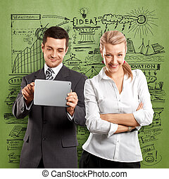 Business Woman and Man - Idea concept. Business team, woman...
