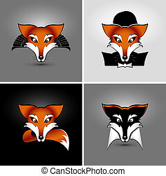 four foxes - vector drawing of heads of four foxes, eps 10,...