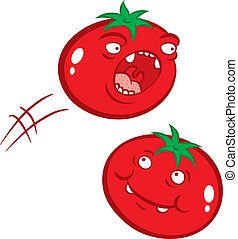 tomatoes - Cartoon illustration of red tomatoes