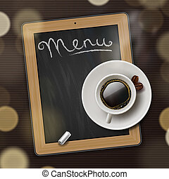 Menu blackboard background with cup of coffee