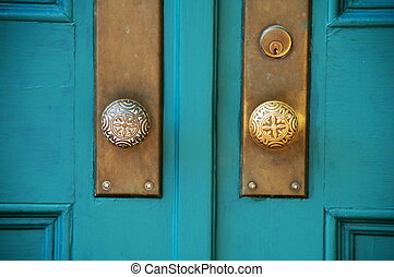 Double Doors - old double wooden doors with brass hardware