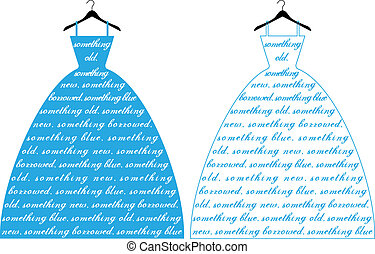 azul, casório, Vestido, vetorial