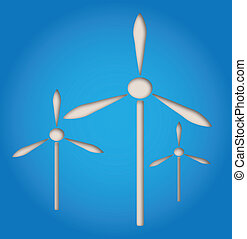 wind power symbol - illustration of paper cut out windmill,...