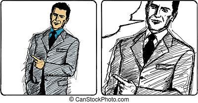 Vector Sketch Businessman - Vector Sketch, comics style...