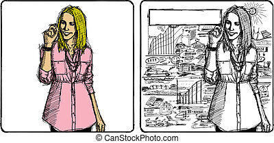Vector Sketch Business Woman - Vector Sketch, comics style...