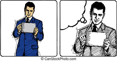 Vector Sketch Businessman - Vector Sketch, comics style man...