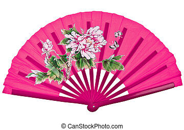 Pink oriental chinese fan isolated on white background