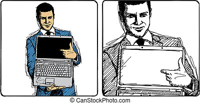Vector Sketch Businessman - Vector Sketch, comics style...