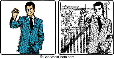 Vector Sketch Businessman - Vector Sketch, comics style male...