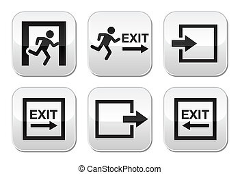 Emergency exit vector buttons set - Danger, Emergency exit,...