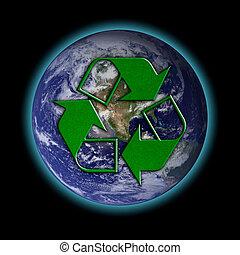 reciclar, logotipo, tierra