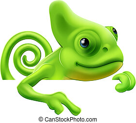 Cartoon chameleon pointing down - An illustration of a cute...