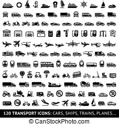 120 Transport icons: Cars, Ships, Trains, Planes, vector...