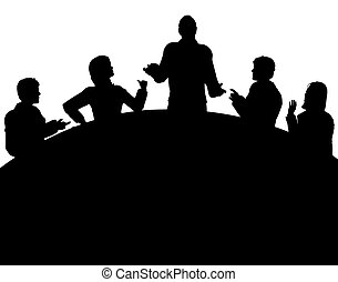Meeting - Silhouette of a business meeting