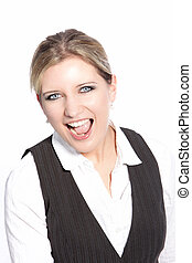 Laughing young businesswoman cheering and rejoicing at good...