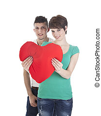 Man and woman with red heart