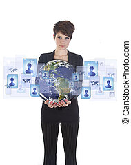 Young woman holding earth with social media symbols isolated...