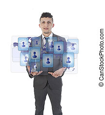 Young man holding social media symbols isolated on white