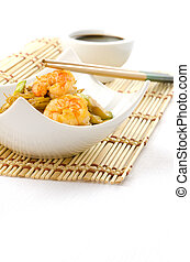 Chinese food, noodles with shrimps - Chinese noodles with...