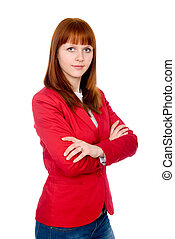 Portrait of a confident business redheaded girl. Isolated on...