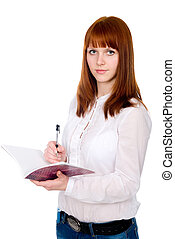 Red-haired student with pen and notebook. Isolated on white...