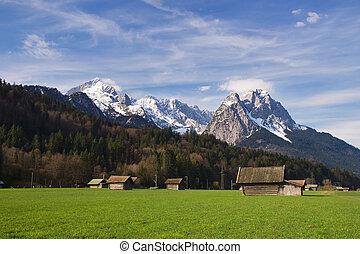 Bavarian Alps - Rural landscape, Garmisch-Partenkirchen,...