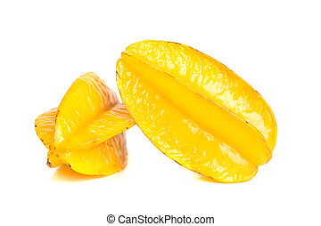carambola - fresh yellow carambola, starfriut on white...