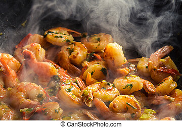 Hot shrimp fried in a pan