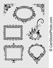Swirl Ornament 1 - Smooth and detail vector blank label with...