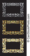 Balinese Ornament Frame 1c. - Blank frame with floral...