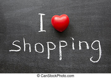love shopping - I love shopping phrase handwritten on the...