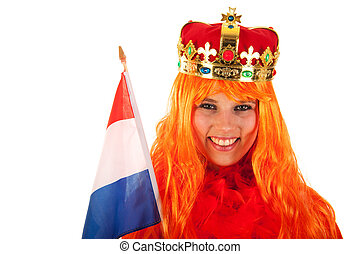 Kings day in Holland - Girl celebrating kings day in Holland