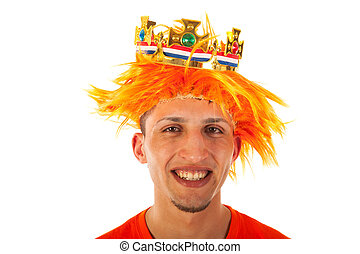 Kings day in Holland - Young man celebrating kings day in...
