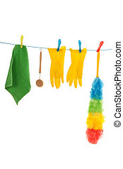 cleaning attributes hanging at laundry line