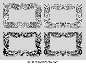 Balinese Ornament Frame 3a - Blank frame with floral...