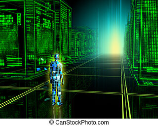 Digital world - Human figure entering into a virtual reality...