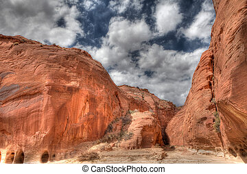 Sandstone Canyon Walls - Beautiful sandstone walls line the...