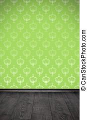 blank wall with green floral wallpaper and wooden floor