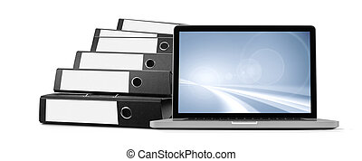 ring binders and laptop- database concept