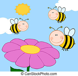 Three Bees Flying Over Flower