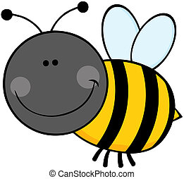 Bumble Bee Cartoon Character Flying - Smiling Bumble Bee...
