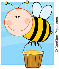 Bee Flying With A Honey Bucket - Happy Bee Flying With A...